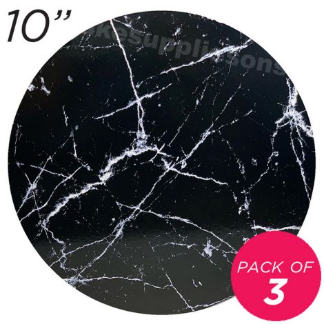 """10"""" Black Round Masonite Cake Board Marble Pattern - 6 mm thick, Pack of 3"""