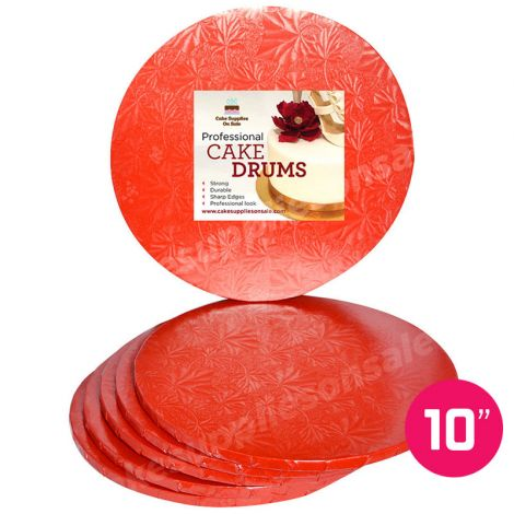 "10"" Red Round Drum 1/2"", 6 count"