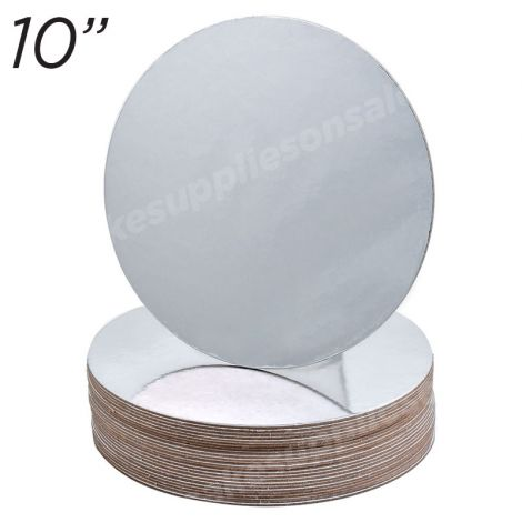 """10"""" Silver Round Cakeboard, 6 ct. - 2 mm thick"""