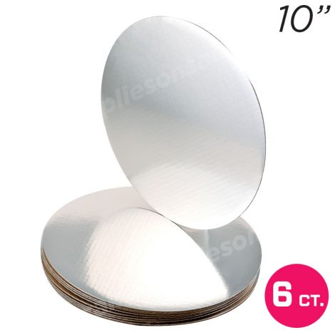 """10"""" Silver Round Coated Cakeboard, 6 ct"""