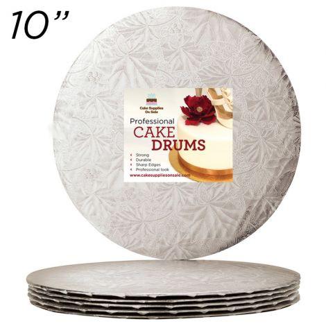 "10"" Silver Round Thin Drum 1/4"", 25 count"
