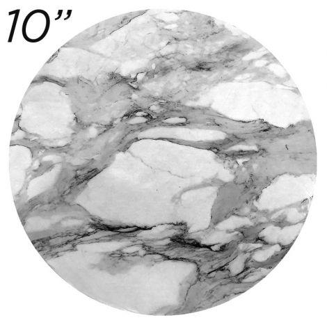 "10"" White Round Masonite Cake Board Marble Pattern - 6 mm thick"