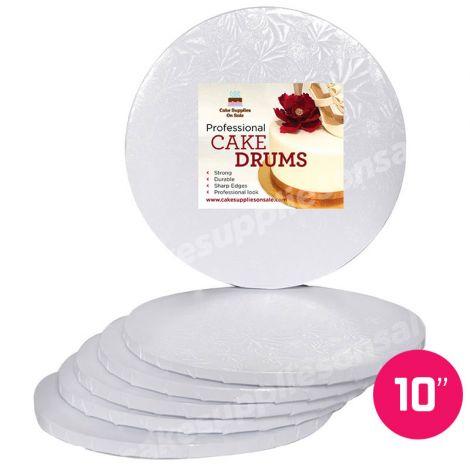"""10"""" White Round Drum 1/2"""", 6 count"""