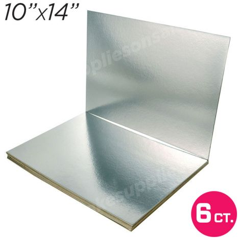 """10""""x14"""" Silver Cakeboard, 6 ct. - 2 mm thick"""