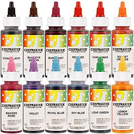 12-Color Liqua-Gel Cake Colors Kit, 2.3 oz bottles