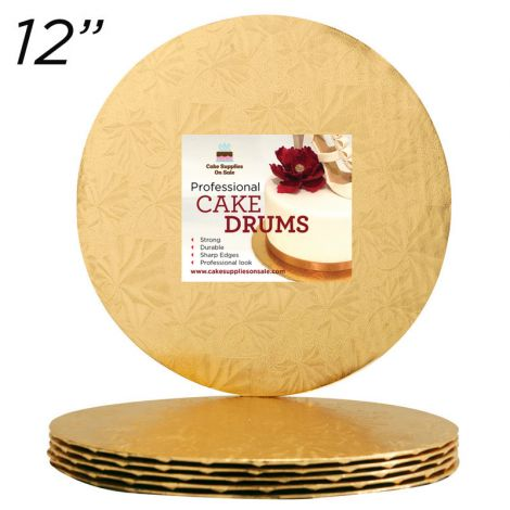 """12"""" Gold Round Thin Drum 1/4"""", 25 count"""