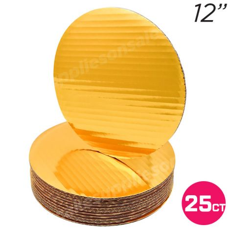 """12"""" Gold Round Coated Cakeboard, 25 ct"""