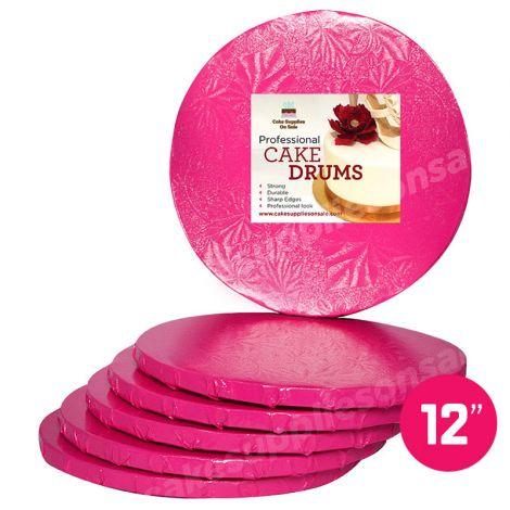 """12"""" Pink Round Drum 1/2"""", 6 count"""