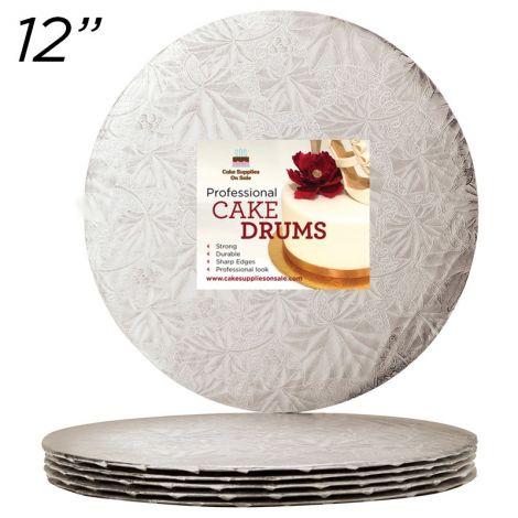 "12"" Silver Round Thin Drum 1/4"", 6 count"