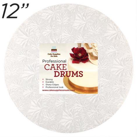 "12"" White Round Thin Drum 1/4"""
