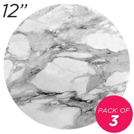 "12"" White Round Masonite Cake Board Marble Pattern - 6 mm, Pack of 3"