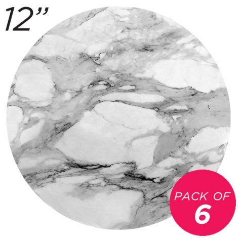 "12"" White Round Masonite Cake Board Marble Pattern - 6 mm, Pack of 6"