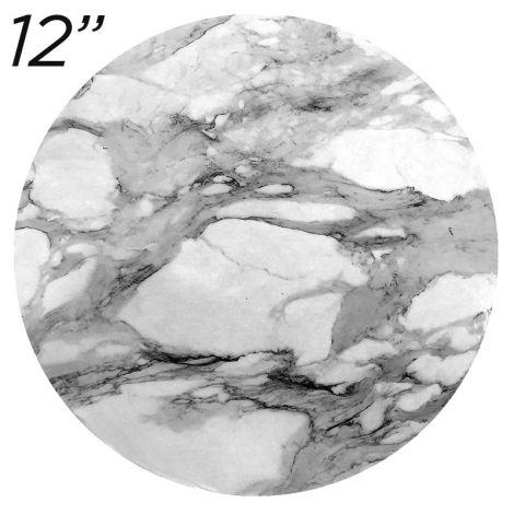 "12"" White Round Masonite Cake Board Marble Pattern - 6 mm thick"