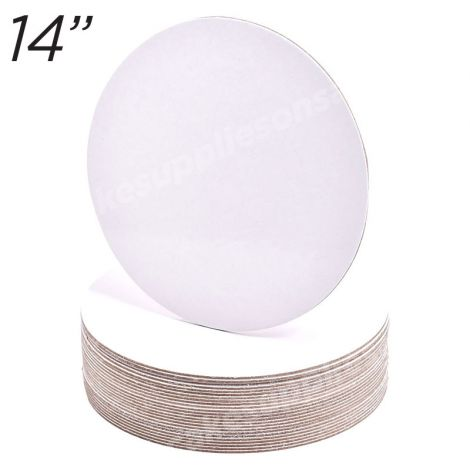 """14"""" White Round Cakeboard, 25 ct. - 2 mm thick"""