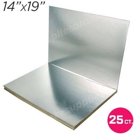 """14""""x19"""" Silver Cakeboard, 25 ct. - 3 mm thick"""