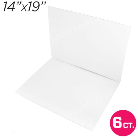 """14""""x19"""" White Cakeboard, 6 ct. - 3 mm thick"""
