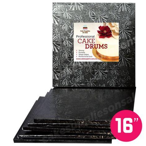 """16"""" Black Square Drum 1/2"""", 6 count"""