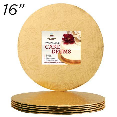 """16"""" Gold Round Thin Drum 1/4"""", 6 count"""