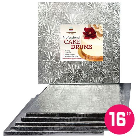 "16"" Silver Square Drum 1/2"", 6 count"