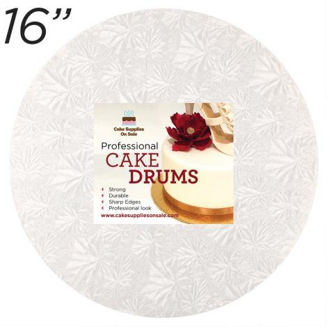 "16"" White Round Thin Drum 1/4"""