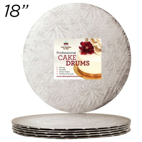 "18"" Silver Round Thin Drum 1/4"", 25 count"