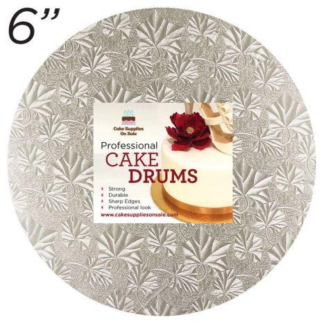 """6"""" Silver Round Thin Drum 1/4"""""""