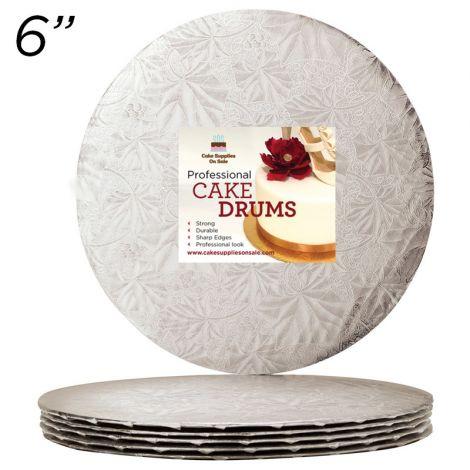 "6"" Silver Round Thin Drum 1/4"", 6 count"