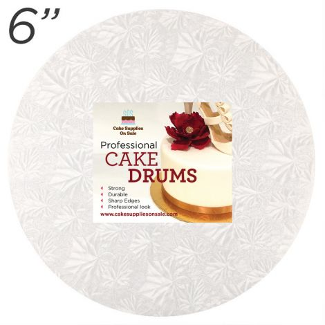 "6"" White Round Thin Drum 1/4"""