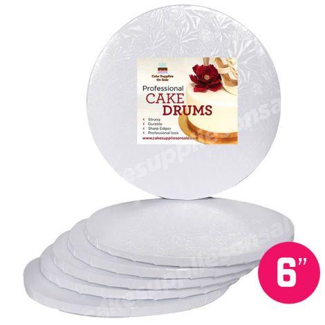"""6"""" White Round Drum 1/2"""", 6 count"""