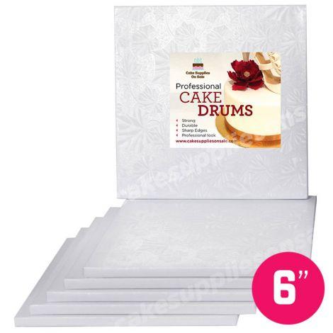 """6"""" White Square Drum 1/2"""", 6 count"""