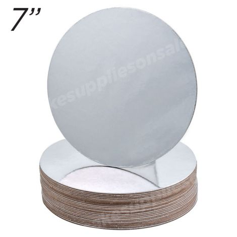 """7"""" Silver Round Cakeboard, 25 ct. - 2 mm thick"""