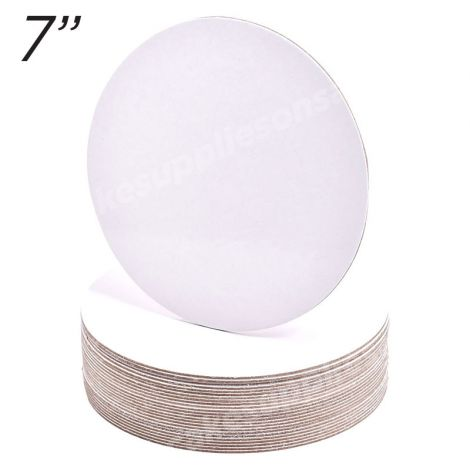 """7"""" White Round Cakeboard, 12 ct. - 2 mm thick"""