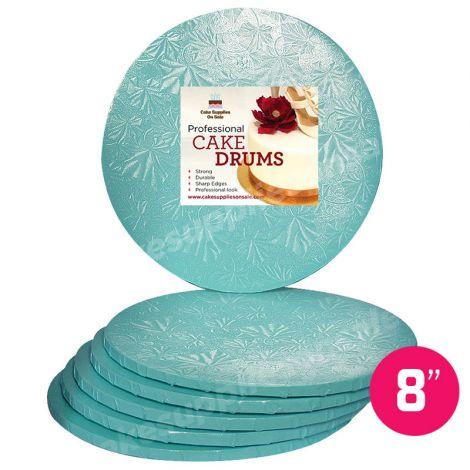 "8"" Blue Round Drum 1/2"", 6 count"