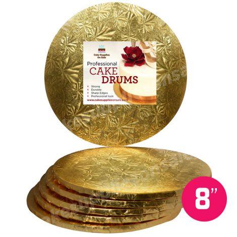 "8"" Gold Round Drum 1/2"", 6 count"
