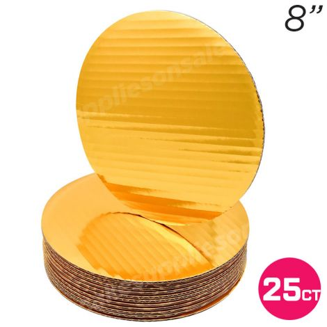 """8"""" Gold Round Coated Cakeboard, 25 ct"""