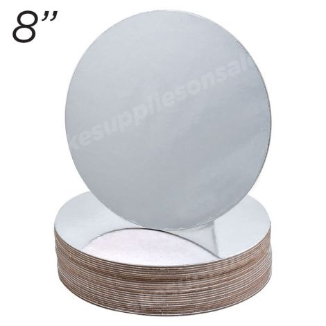 """8"""" Silver Round Cakeboard, 12 ct. - 2 mm thick"""