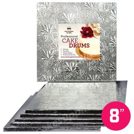 "8"" Silver Square Drum 1/2"", 6 count"