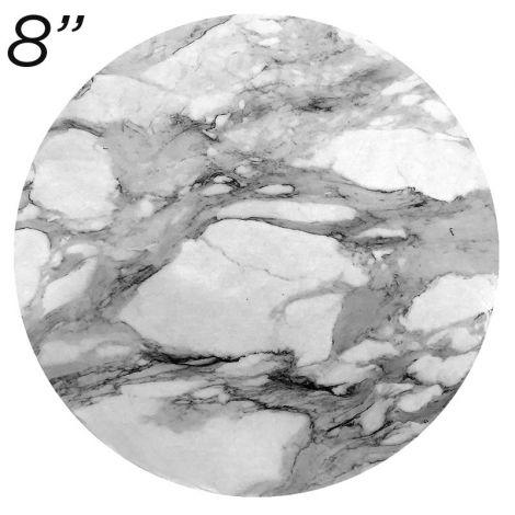 "8"" White Round Masonite Cake Board Marble Pattern - 6 mm thick"