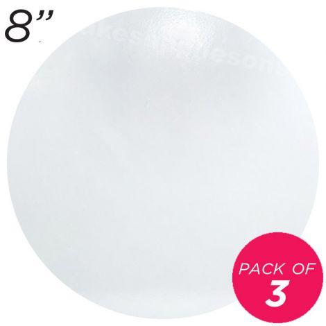 """8"""" White Round Masonite Cake Board - 6 mm thick, Pack of 3"""