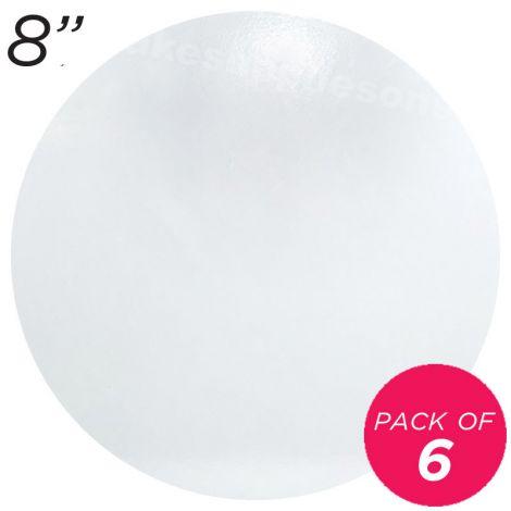 """8"""" White Round Masonite Cake Board - 6 mm thick, Pack of 6"""