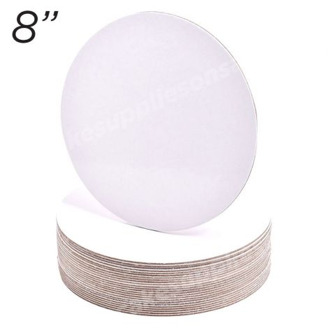 """8"""" White Round Cakeboard, 25 ct. - 2 mm thick"""