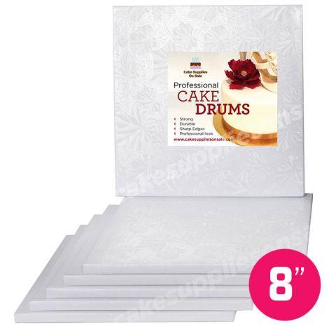 """8"""" White Square Drum 1/2"""", 6 count"""
