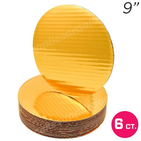 """9"""" Gold Round Coated Cakeboard, 6 ct"""