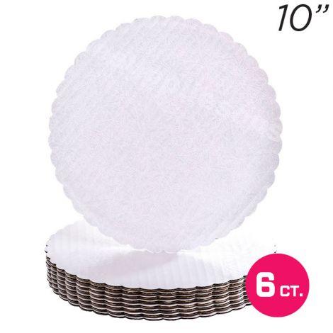 """10"""" White Scalloped Edge Cake Boards, 6 ct"""