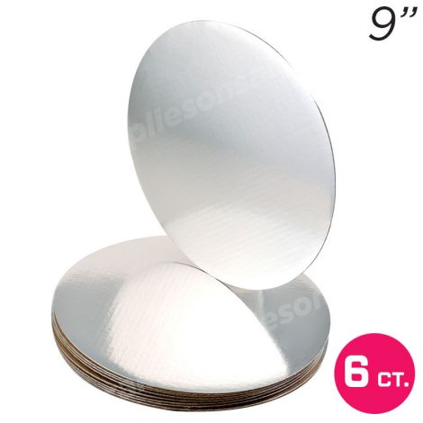 """9"""" Silver Round Coated Cakeboard, 6 ct"""