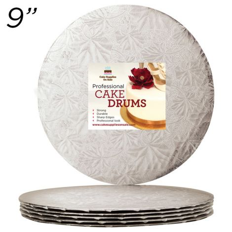 "9"" Silver Round Thin Drum 1/4"", 25 count"