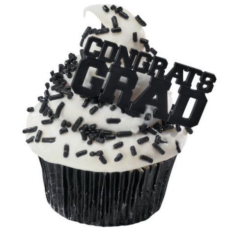 Black Congrats Grad, Cupcake Pics, 12 ct