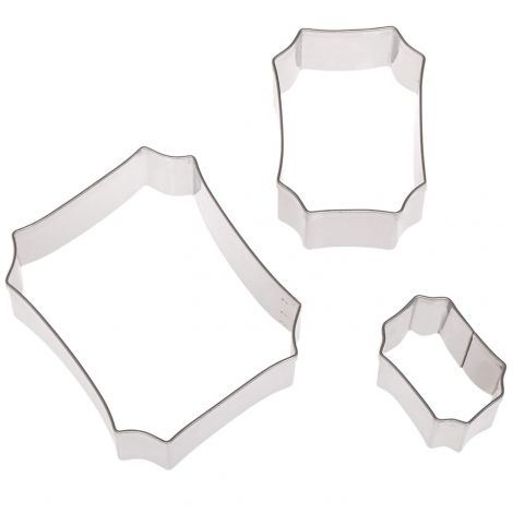 Plain Edge Plaque Shaped Cutter Set in Assorted Sizes