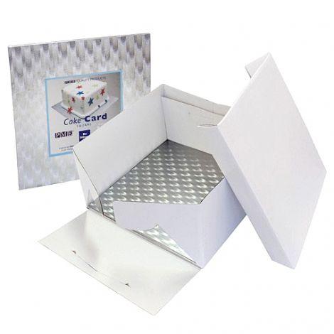 8in White Square Cake Card & Cake Box