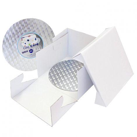 8in White Round Cake Card & Cake Box
